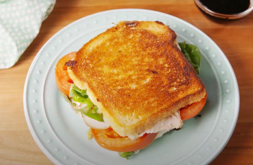 Caprese chicken grilled cheese sandwich